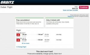 Houston-Dubai: Orbitz Booking Page