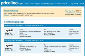Houston-Las Vegas: Priceline Booking Page
