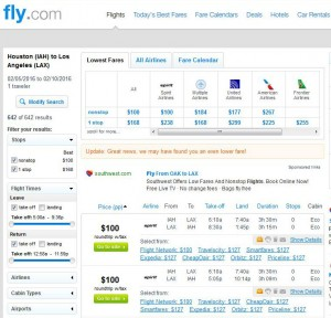 Houston-Los Angeles: Fly.com Search Results