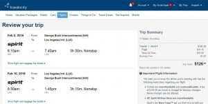 Houston-Los Angeles: Travelocity Booking Page