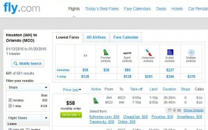 Houston-Orlando: Fly.com Search Results