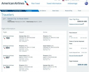 Kansas City-Lihue: American Airlines Booking Page