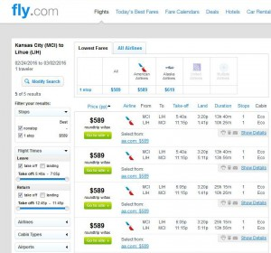 Kansas City-Lihue: Fly.com Search Results