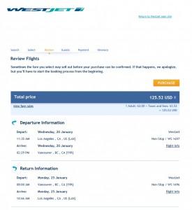 LA to Vancouver: WestJet Booking Page
