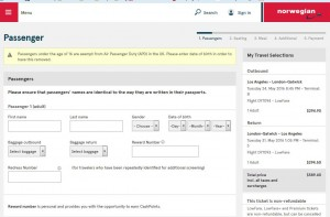 Los Angeles-London Gatwick: Norwegian Air Shuttle Booking Page