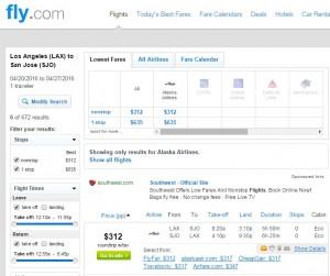 LA to Costa Rica: Fly.com Results