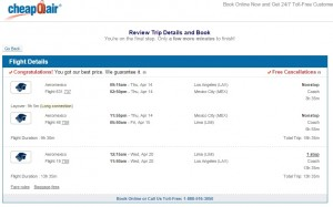 Los Angeles to Lima: CheapOair Booking Page