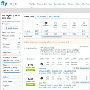 Los Angeles to Lima: Fly.com Results