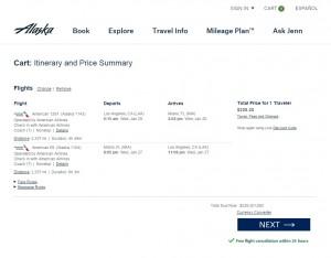 Los Angeles to Miami: Alaska Booking Page