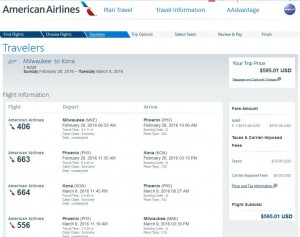 Milwaukee-Kailua Kona: American Airlines Booking Page