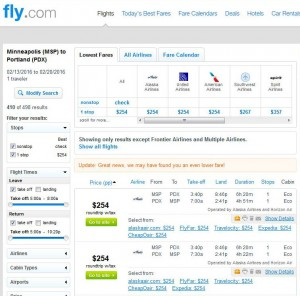 Minneapolis-Portland: Fly.com Search Results