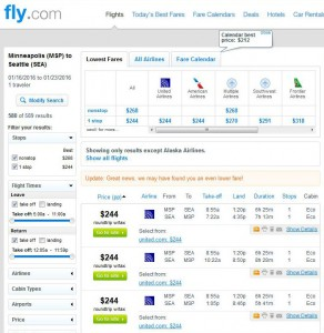 Minneapolis-Seattle: Fly.com Search Results