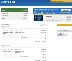 Minneapolis-Seattle: United Airlines Booking Page