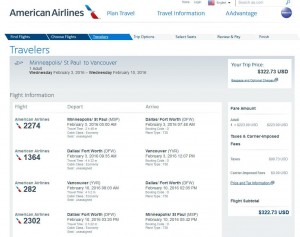 Minneapolis-Vancouver: American Airlines Booking Page