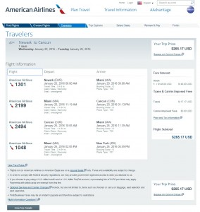 NYC to Cancun: AA Booking Page
