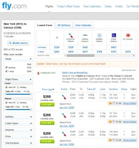 NYC to Cancun: Fly.com Results