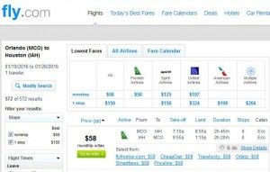 Orlando-Houston: Fly.com Search Results