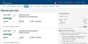 Orlando-Houston: Travelocity Booking Page