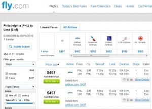 Philadelphia to Lima: Fly.com Results
