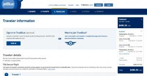 Philadelphia to Lima: JetBlue Booking Page