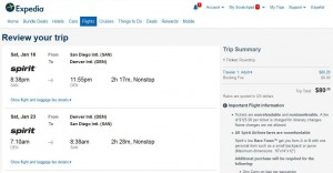 San Diego-Denver: Expedia Booking Page