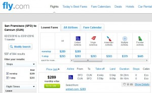 San Francisco to Cancun: Fly.com Results