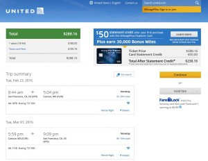 San Francisco to Cancun: United Booking Page