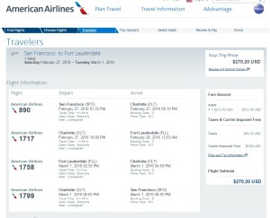 San Francisco to Ft. Lauderdale: AA Booking Page
