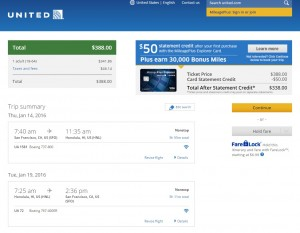 San Francisco to Honolulu: United Airlines Booking Page