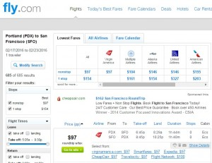 San Francisco to Portland: Fly.com Results