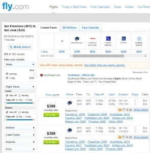 San Francisco to Costa Rica: Fly.com Results