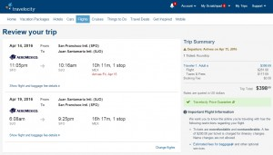 San Francisco to Costa Rica: Travelocity Booking Page