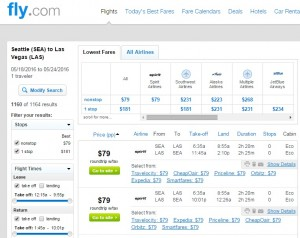 Seattle to Las Vegas: Fly.com Results