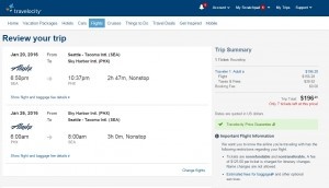 Seattle to Phoenix: Travelocity Booking Page