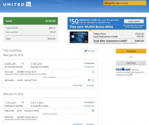 St. Louis-Honolulu: United Airlines Booking Page