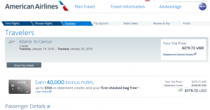 Philly to Cancun: American Airlines Booking Page