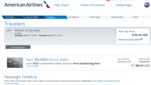 Atlanta to Key West: American Airlines Booking Page