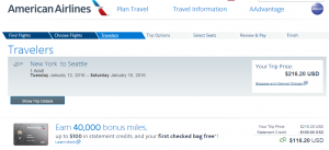 NYC to Seattle: American Airlines Booking Page