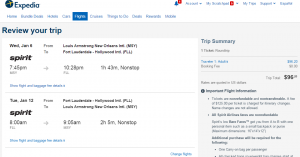 New Orleans to Fort Lauderdale: Expedia Booking Page