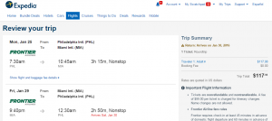 Philly to Miami: Expedia Booking Page