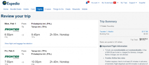 Philly to Tampa: Expedia Booking Page