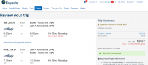 Seattle to NYC: Expedia Booking Page