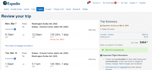 D.C. to Rio: Expedia Booking Page