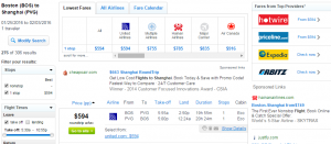 Boston to Shanghai: Fly.com Results Page