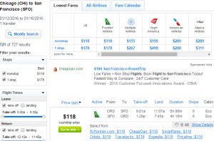 Chicago to SF: Fly.com Results Page