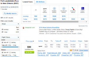 Fort Lauderdale to New Orleans: Fly.com Results Page