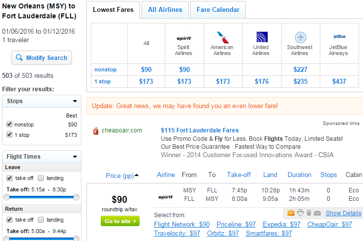 Flight deals from ft lauderdale