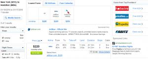 NYC to Bermuda: Fly.com Results Page