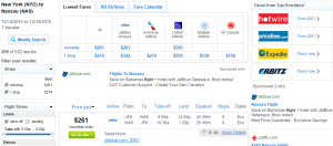 NYC to Bahamas: Fly.com Results Page