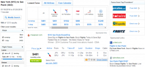 NYC to Sao Paulo: Fly.com Results Page